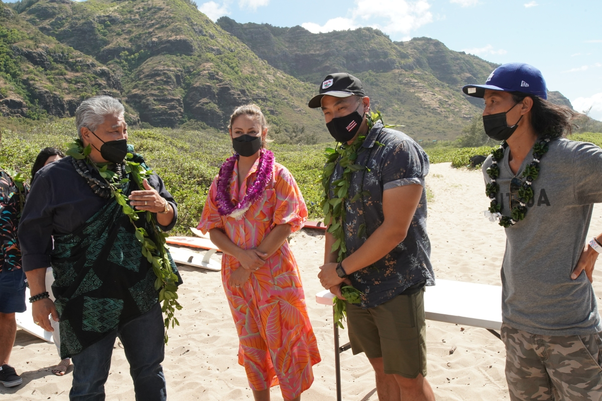 'NCIS: Hawai'i' showrunner Larry Teng at a blessing with star Vanessa Lachey