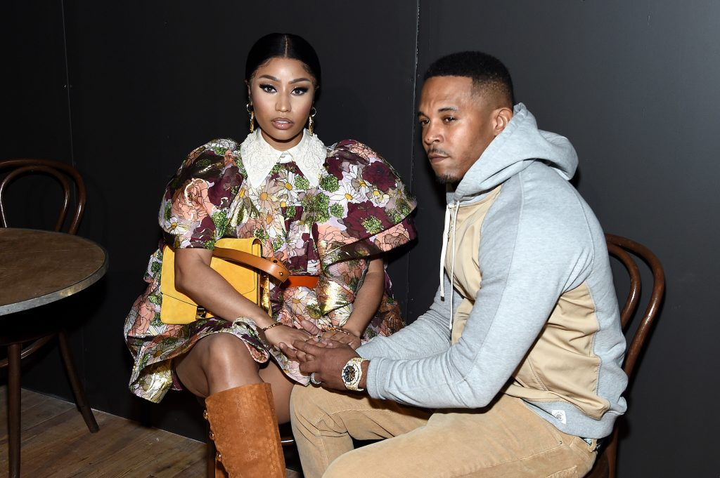 Nicki Minaj and Kenneth Petty attend the Marc Jacobs Fall 2020 runway show during New York Fashion Week