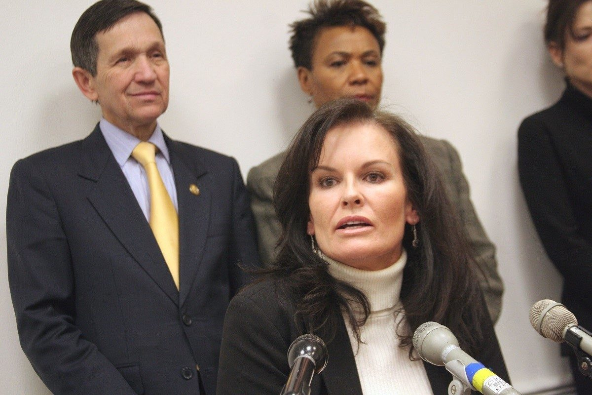 Nicole Brown Simpson's sister, Denise, speaking at news conference to reintroduce the Department of Peace And Nonviolence Bill