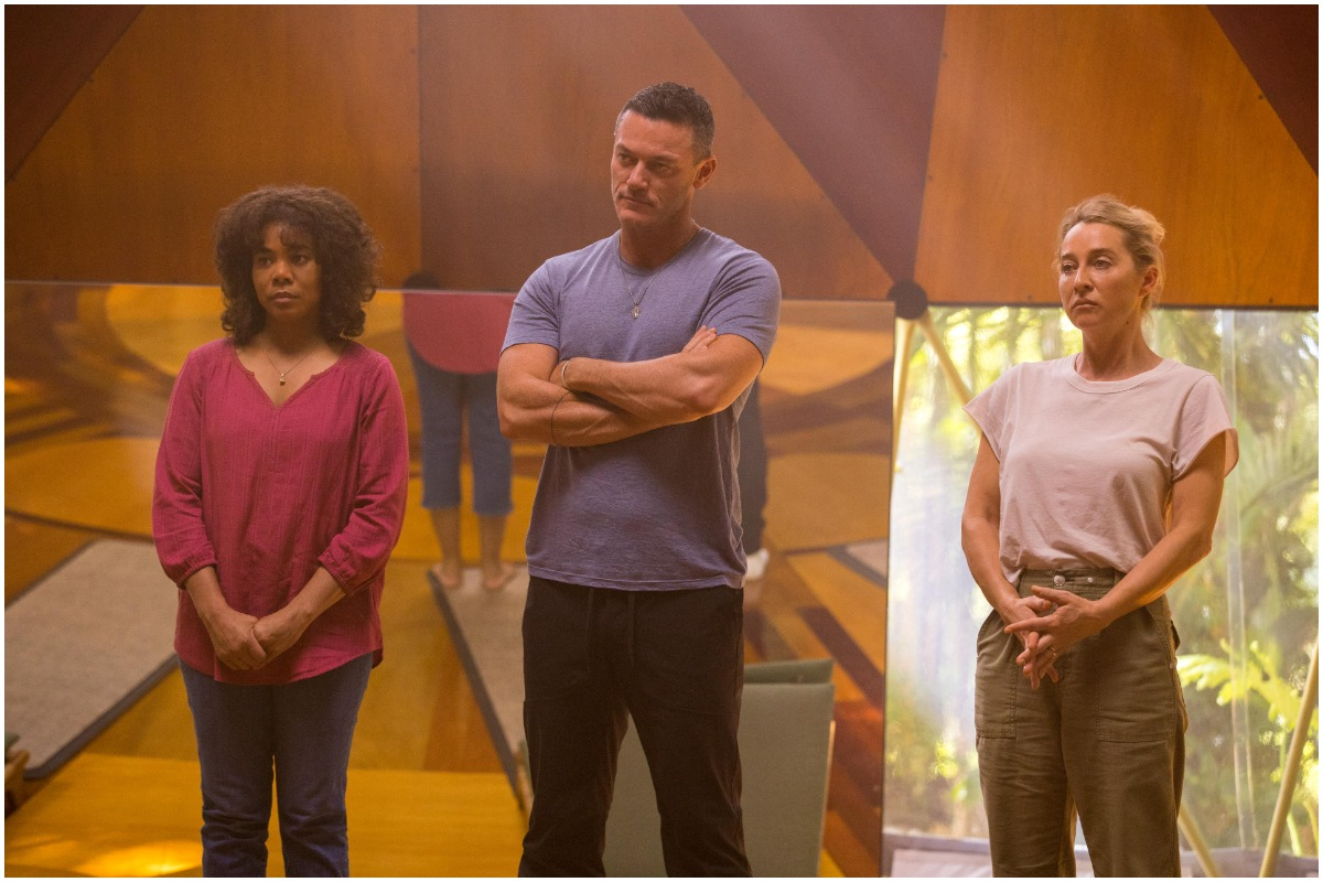 Carmel, Lars, and Heather stand side by side in 'Nine Perfect Strangers'.