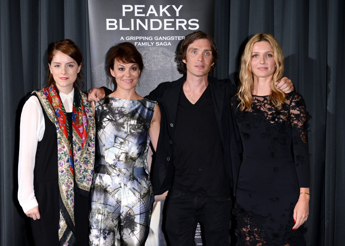 Sophie Rundle, Helen McCrory, Cillian Murphy and Annabelle Wallis pose for a photo at a screening of 'Peaky Blinders'