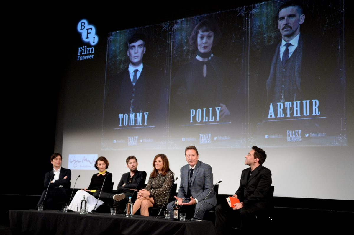 Cillian Murphy, Helen McCrory, Paul Anderson, Caryn Mandabach and Steven Knight sit for a Q&A a the premiere of 'Peaky Blinders' season 3