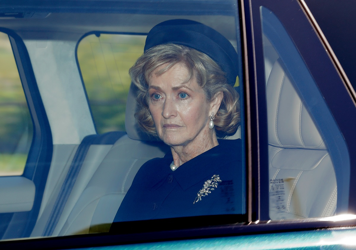 Penelope Knatchbull, Countess Mountbatten of Burma arrives at Windsor Castle to attend the funeral of Prince Philip
