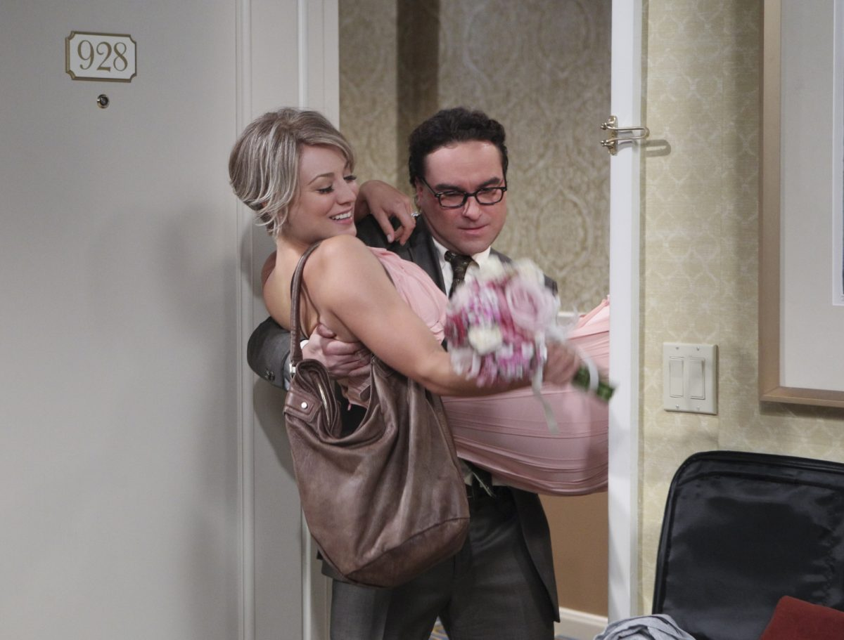 Leonard carries penny over the threshold after their impromptu wedding on 'The Big Bang Theory'