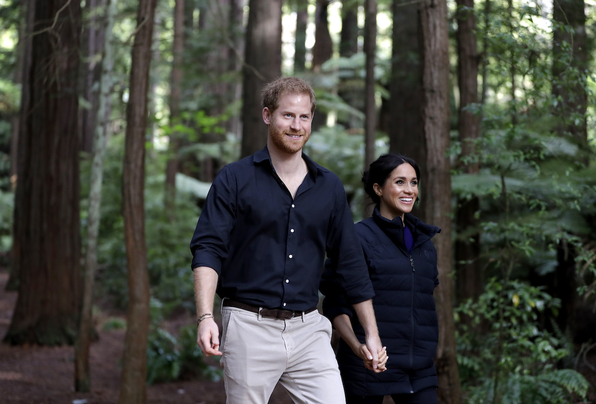 Prince Harry and Meghan Markle smile as they hold hands and walk through the forest during a 2018 royal tour of New Zealand