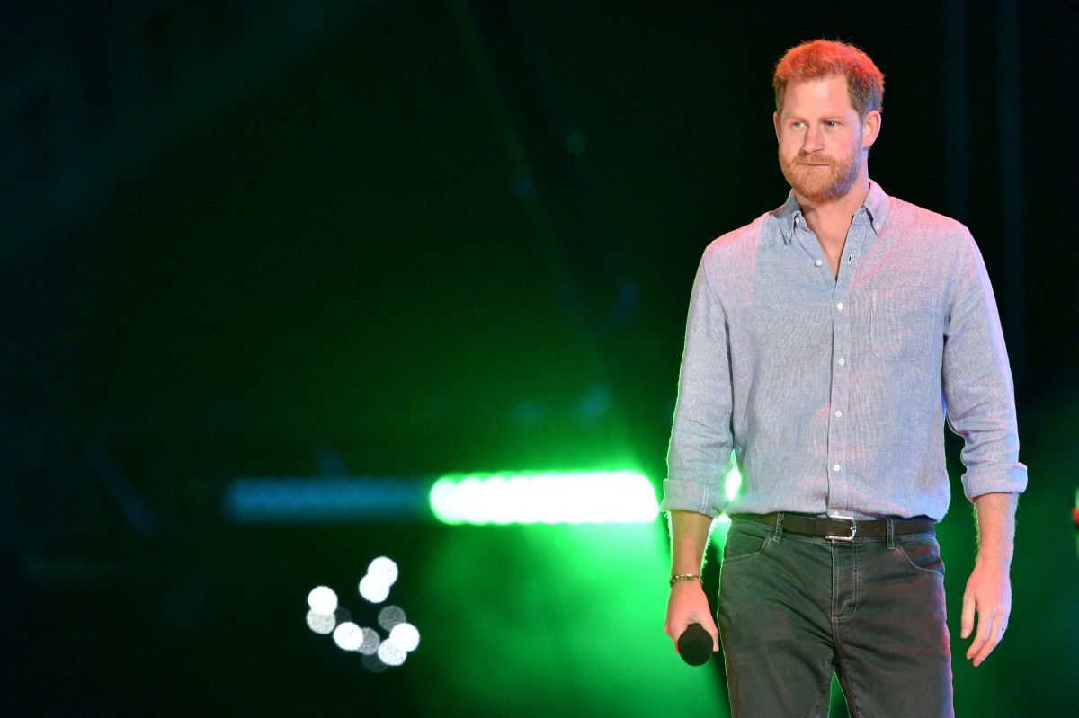 Prince Harry appearing onstage and dressed down at the Vax Live fundraising concert