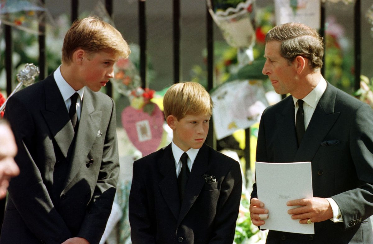 Prince William and Prince Harry talking to Prince Charles at Princess Diana's funeral