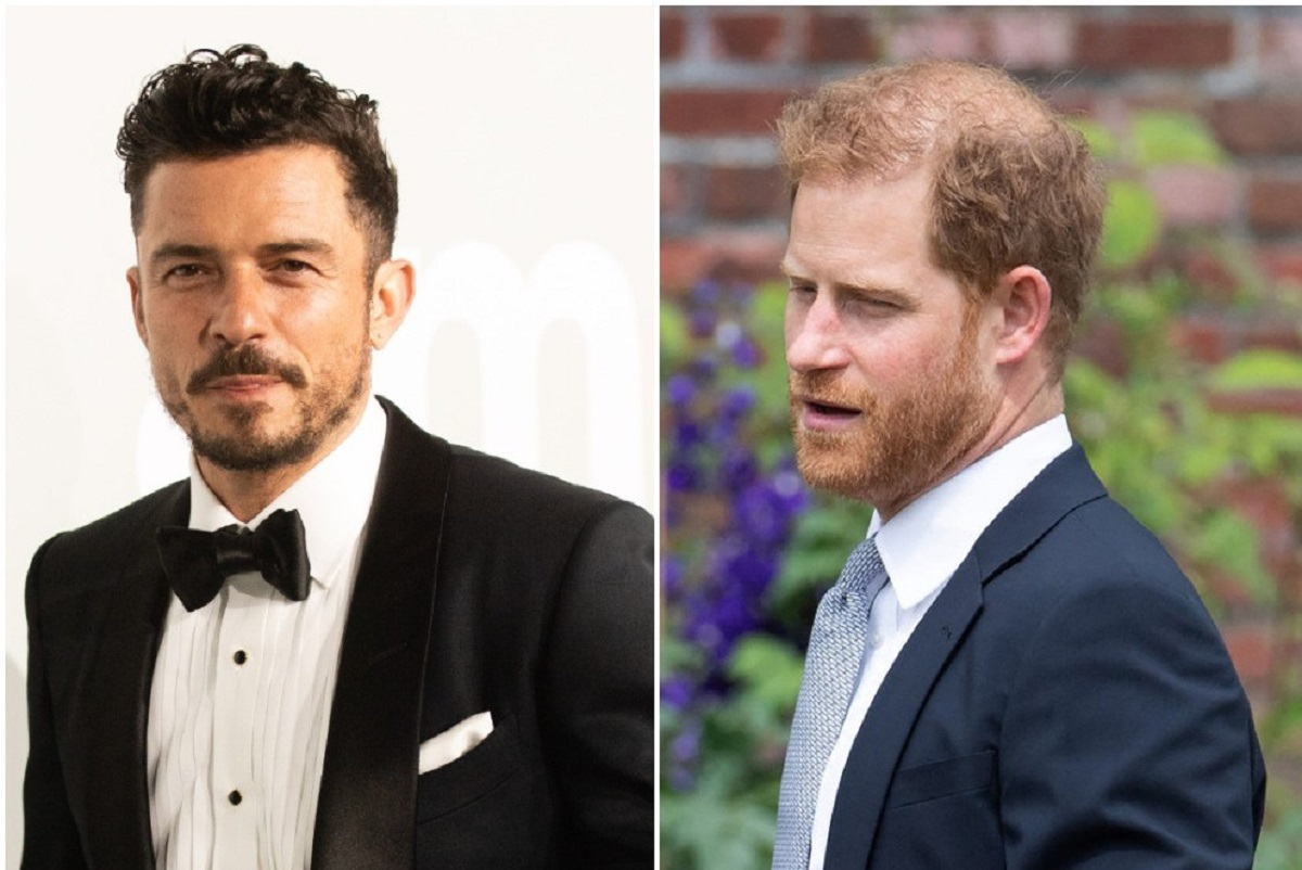 (R): Orlando Bloom in a tuxedo at event, (L): Prince Harry in a blue suit at event