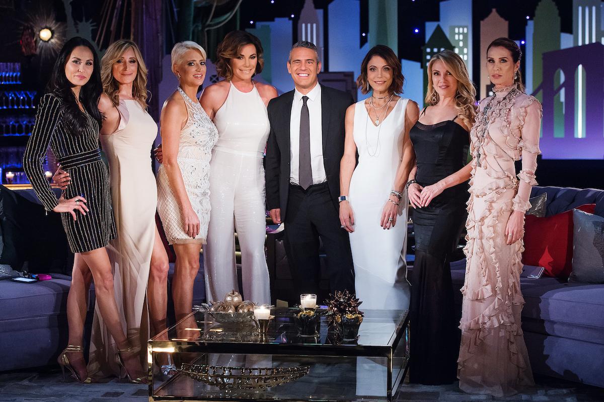 The Real Housewives of New York City reunion: Julianne Wainstein, Sonja Morgan, Dorinda Medley, Luann de Lesseps, Andy Cohen, Bethenny Frankel, Ramona Singer, Carole Radziwil