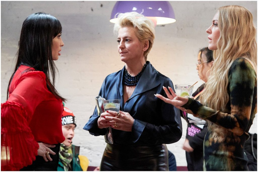 'RHONY' stars Elyse Slaine, Dorinda Medley, Leah McSweeney talking and drinking at an event.