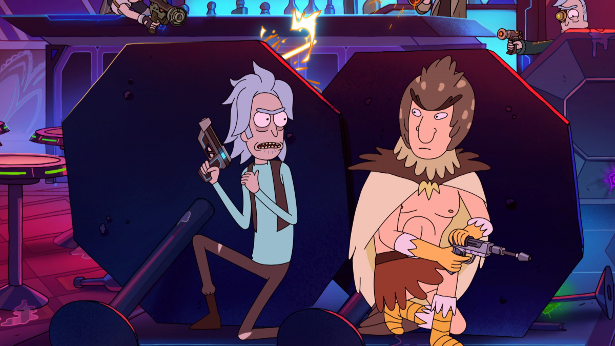 Rick and Bird Person, Rick and Morty, holding weaponry and hiding behind a table