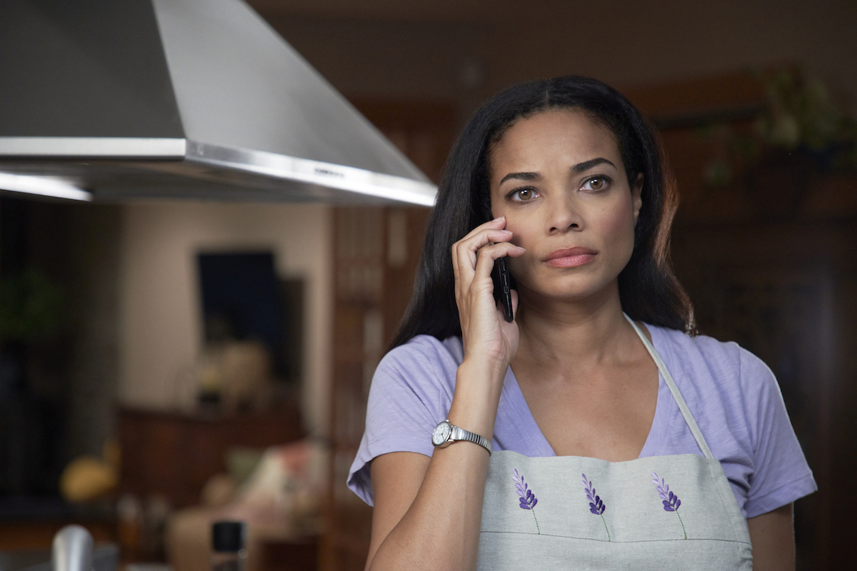 Rochelle Aytes holding phone to her ear in the Hallmark movie 'Redemption in Cherry Springs'