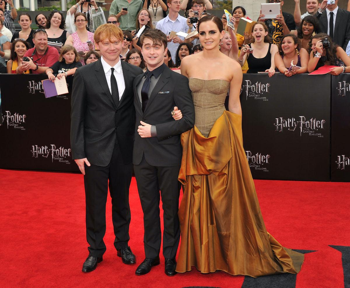 Harry Potter movies stars: Rupert Grint, Daniel Radcliffe, and Emma Watson