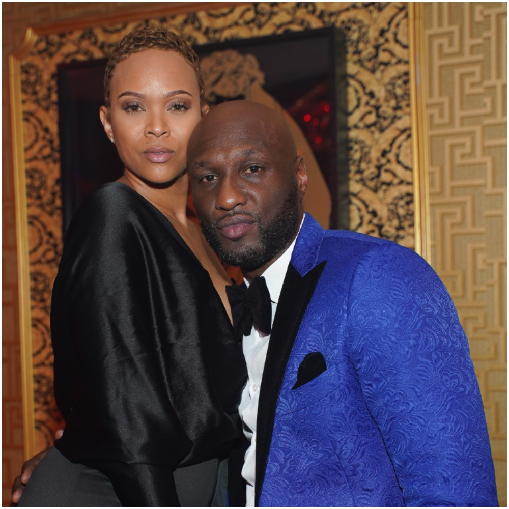 Sabrina Parr and Lamar Odom embracing each other in an evening gown and suit.
