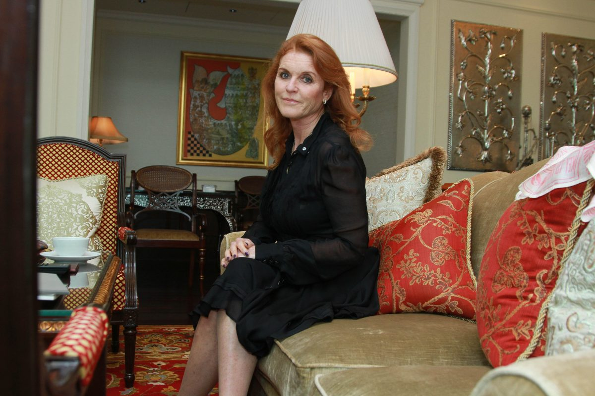 Sarah Ferguson seated during an interview for HT City-Hindustan Time