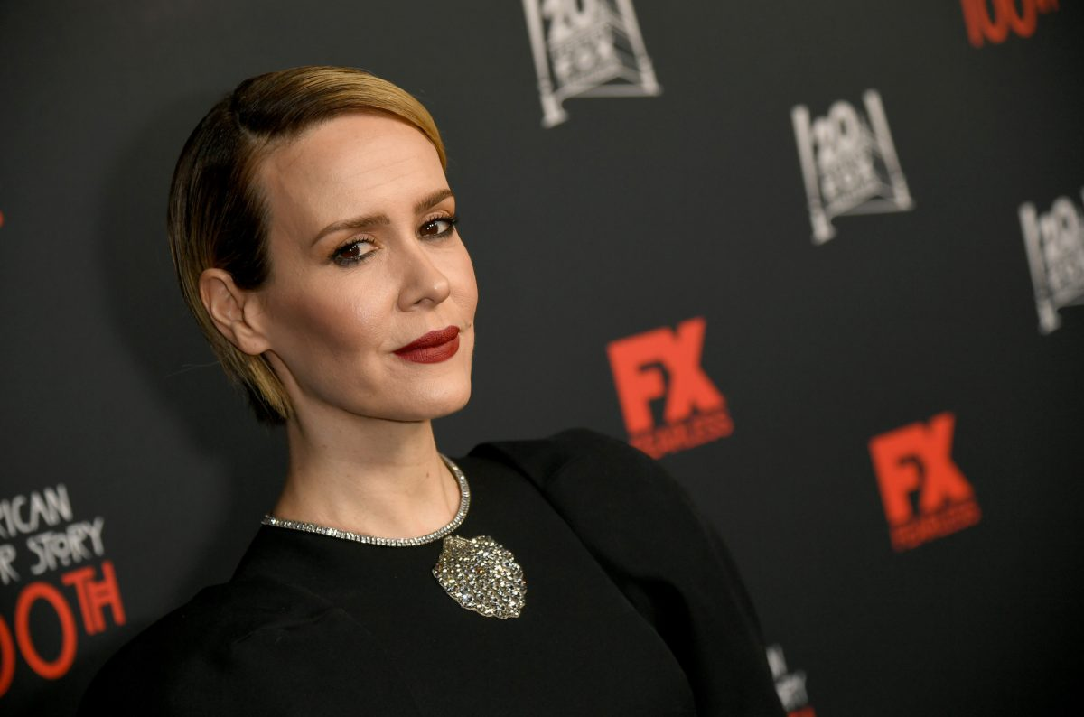 Sarah Paulson, a star in 'American Horror Story' Season 10, against a black background at FX's 'American Horror Story' 100th Episode Celebration