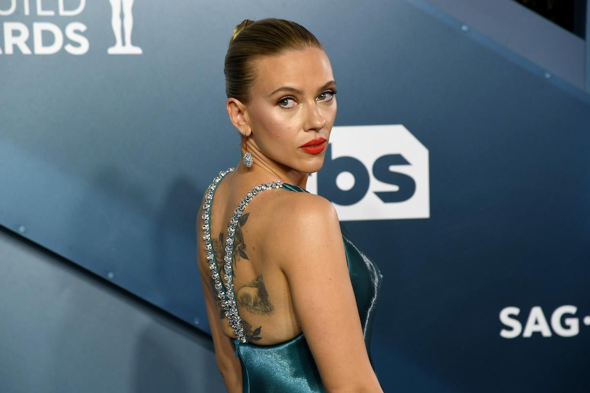 Scarlett Johansson wearing turqoise gown