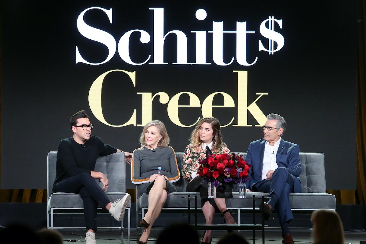 Schitt's Creek cast onstage at the 2018 Winter Television Critics Association Press Tour