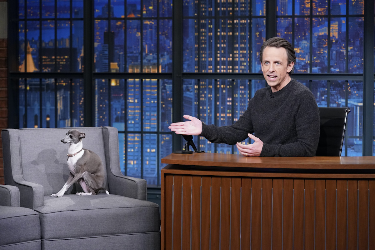 LATE NIGHT WITH SETH MEYERS -- Episode 1110A -- Pictured: Host Seth Meyers with his Italian Greyhound, Frisbee, on February 25, 2021