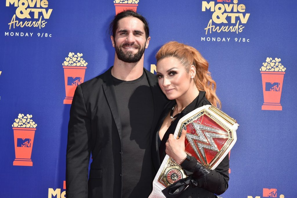 WWE stars Seth Rollins and Becky Lynch dressed in black at the 2019 MTV Movie & TV Awards.