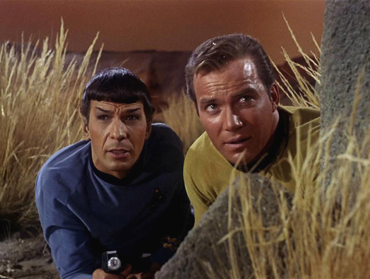 Spock (Leonard Nimoy) and Kirk (William Shatner) in 'Star Trek.'