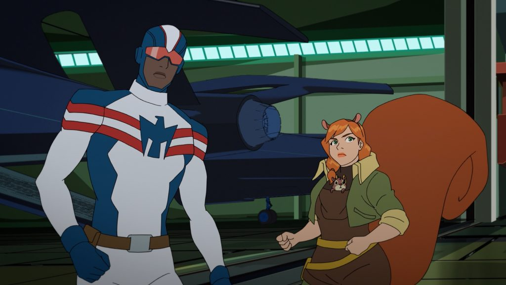 Patriot, Tippy-Toe, and Squirrel Girl in 'Marvel Rising: Secret Warriors'