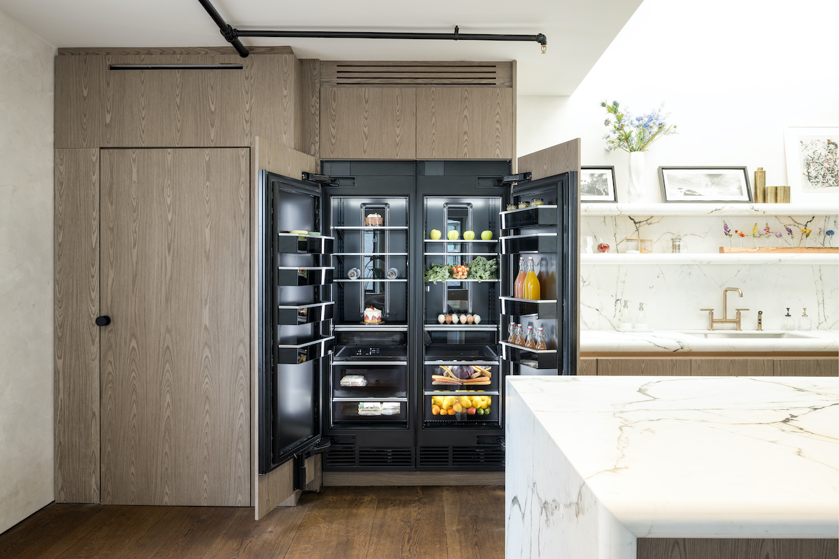 Open refrigerator doors in penthouse renovated by 'Million Dollar Listing New York' cast member Steve Gold