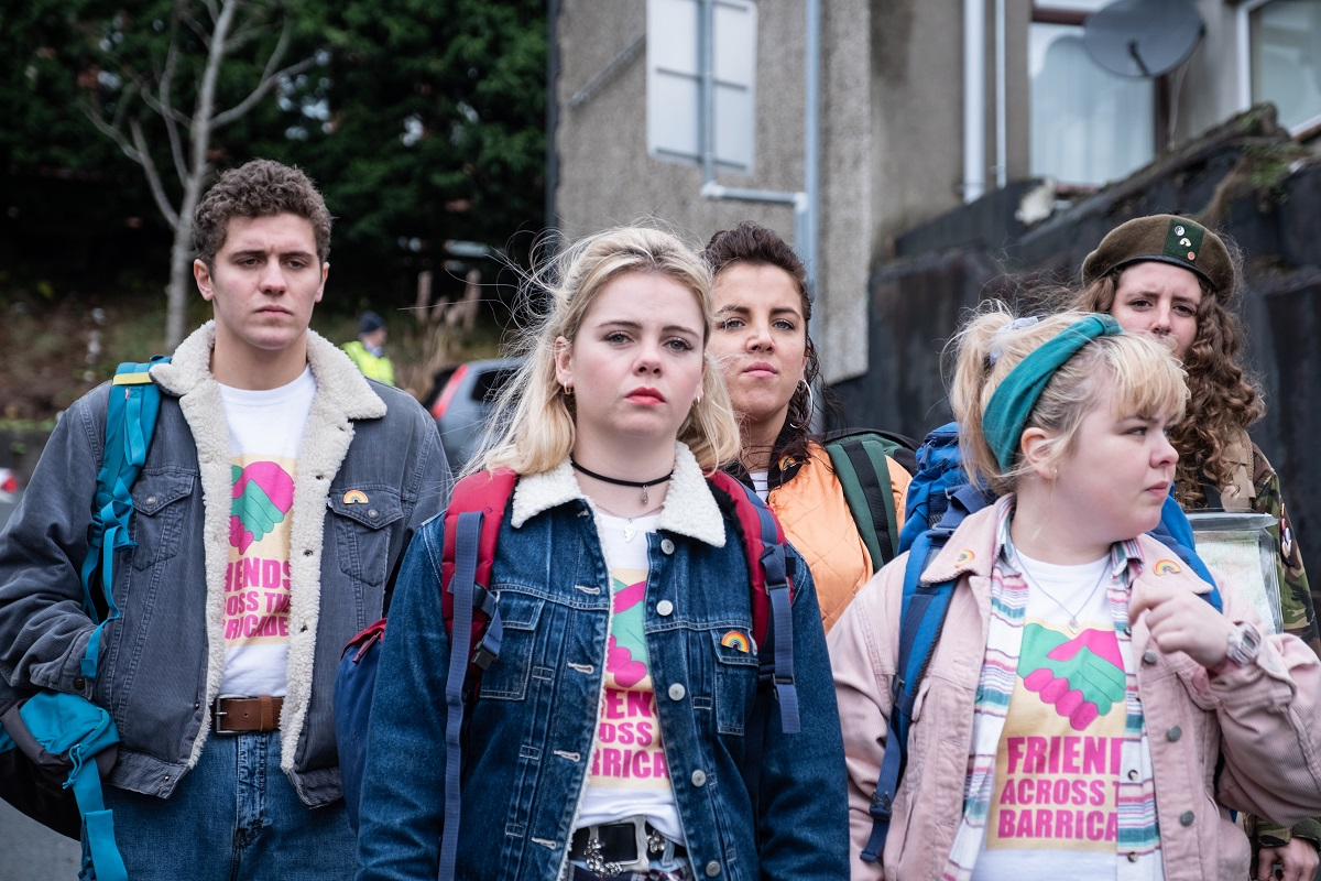 Production still of the 'Derry Girls' cast, Saorise-Monica Jackson, Louisa Harland, Nicola Coughlan, Jamie-Lee O'Donnell and Dylan Llewellyn.