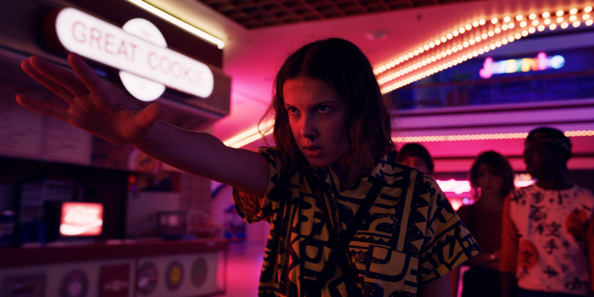 Eleven, played by Millie Bobby Brown, uses her powers on the Mindflayer in a production still from 'Stranger Things' Season 3.