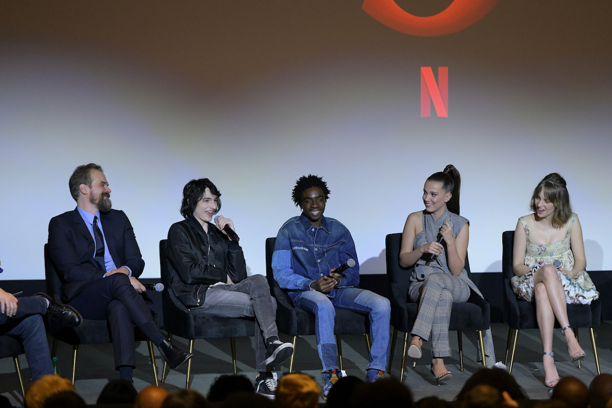 'Stranger Things' cast talking on stage.