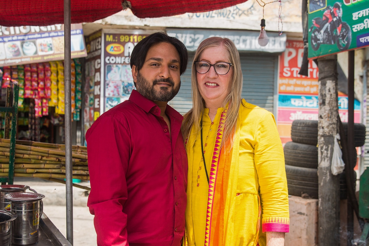 Jenny and Sumit pose together in India on 'The Other Way'