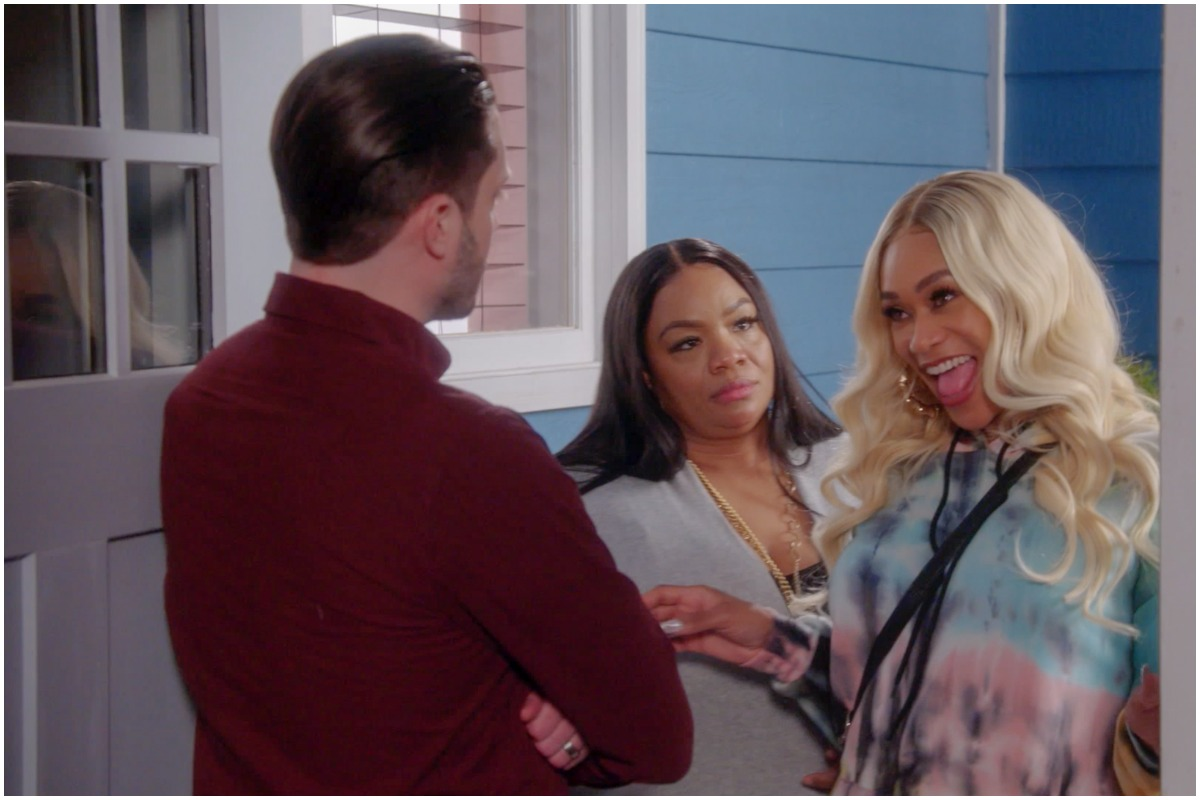 Tami Roman and Ms. Pat filming a scene with another actor on 'The Miss Pat Show'
