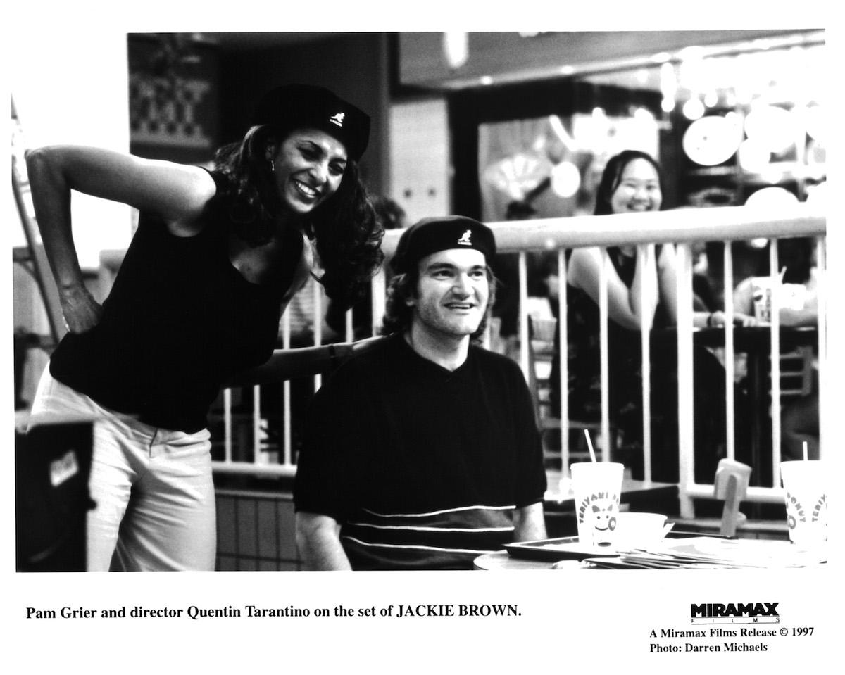 Quentin Tarantino black and white image