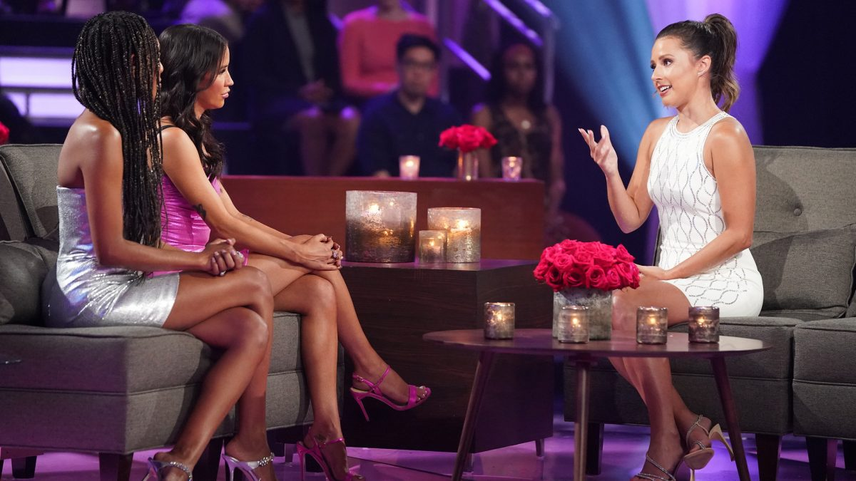 Tayshia Adams, Kaitlyn Bristowe, and Katie Thurston speaking at 'After the Final Rose' in 'The Bachelorette' Season 17 finale in 2021