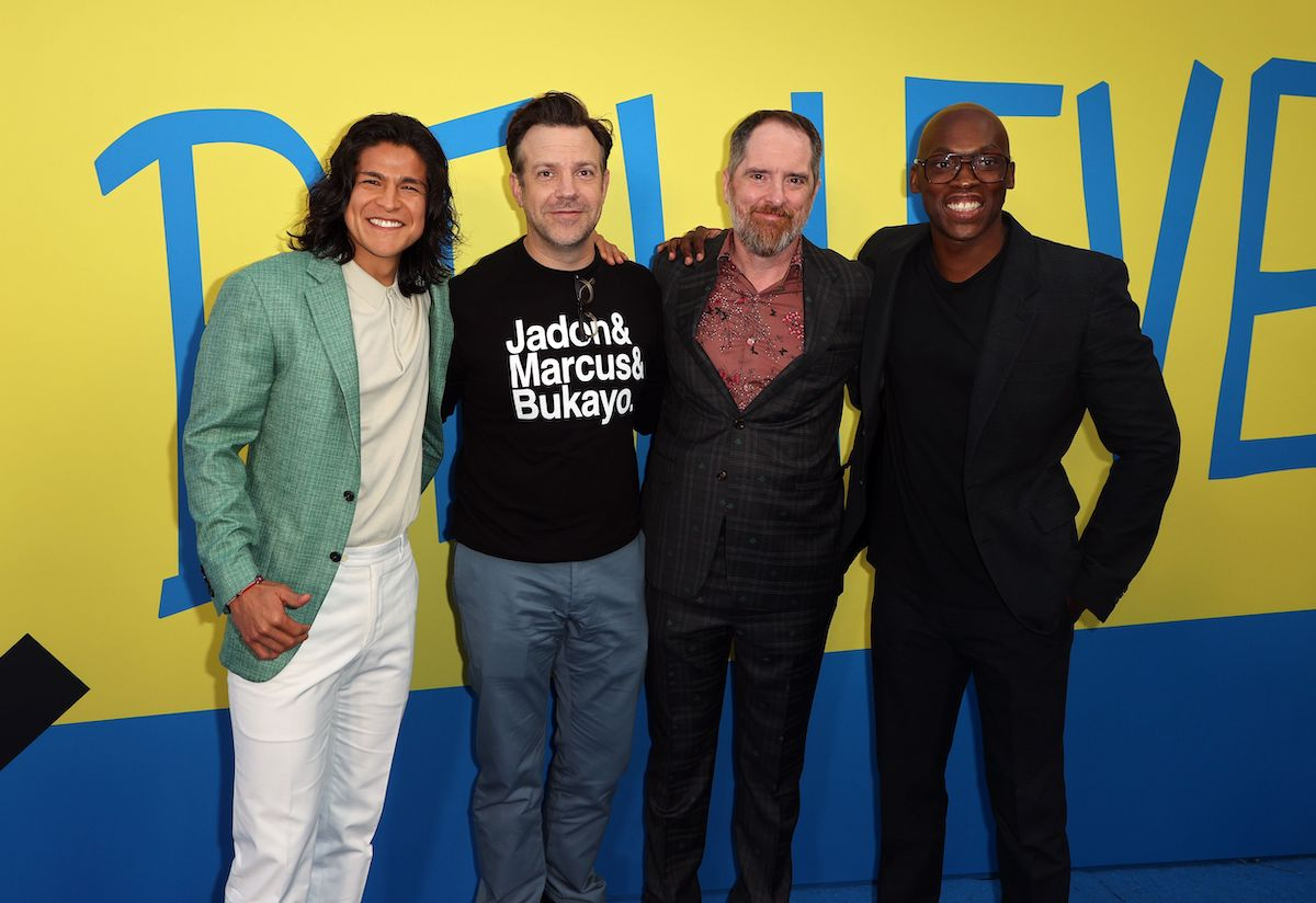 """Cristo Fernández, Jason Sudeikis, Brendan Hunt, and Moe Jeudy-Lamour attend Apple's """"Ted Lasso"""" season two premiere at Pacific Design Center on July 15, 2021 in West Hollywood, California."""