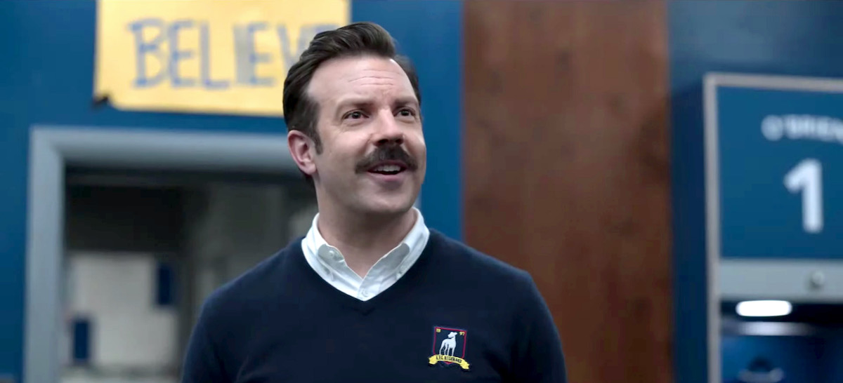 """Jason Sudeikis performs as """"Ted Lasso"""" during the 27th Annual Screen Actors Guild Awards on April 04, 2021."""