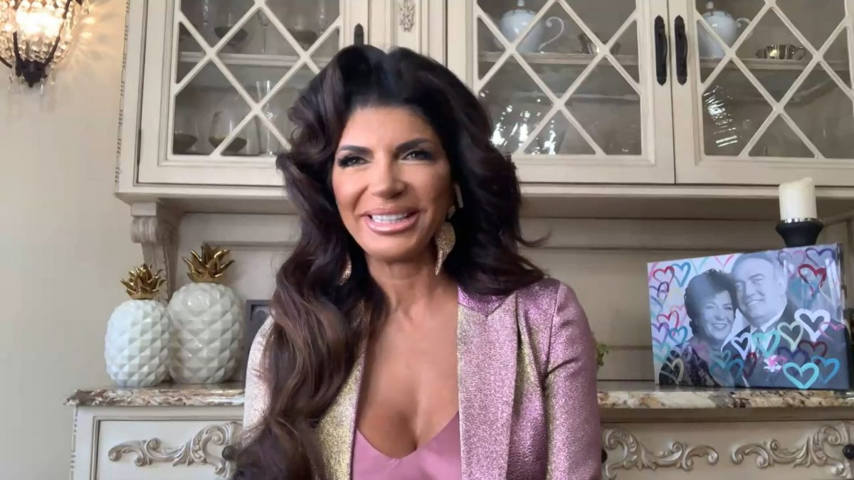 Teresa Giudice in a pink shirt on 'Watch What Happens Live With Andy Cohen.'