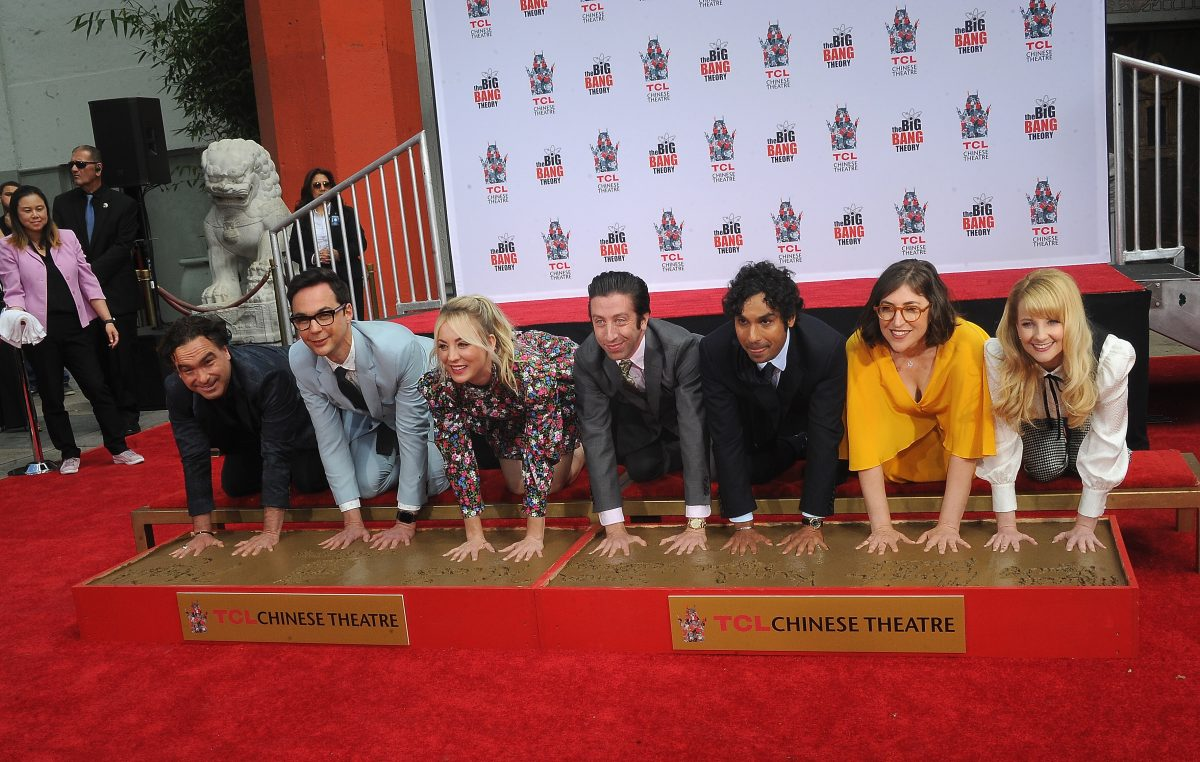 The cast of 'The Big Bang Theory' place their handprints in the cement in front of The TCL Chinese Theatre