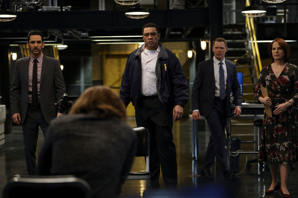 Amir Arison as Aram Mojtabai, Seth Numrich as Rakitin, Harry Lennix as Harold Cooper, Diego Klattenhoff as Donald Ressler, Deirdre Lovejoy as Cynthia Panabaker work together in the task force office.