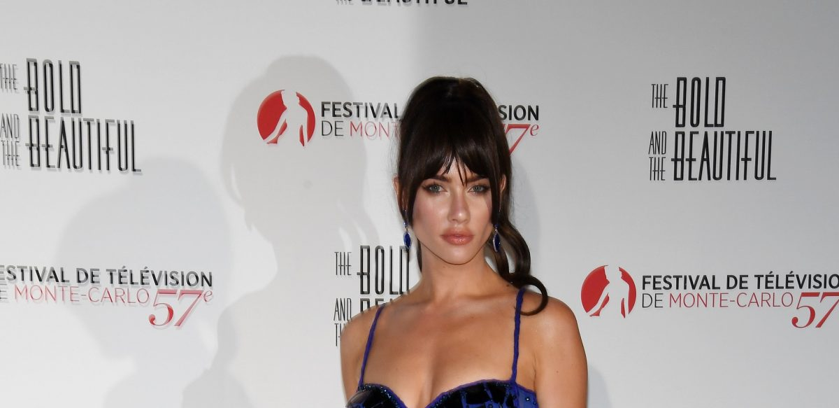 Jacqueline MacInnes Wood in a blue dress for The Bold and the Beautiful spoilers