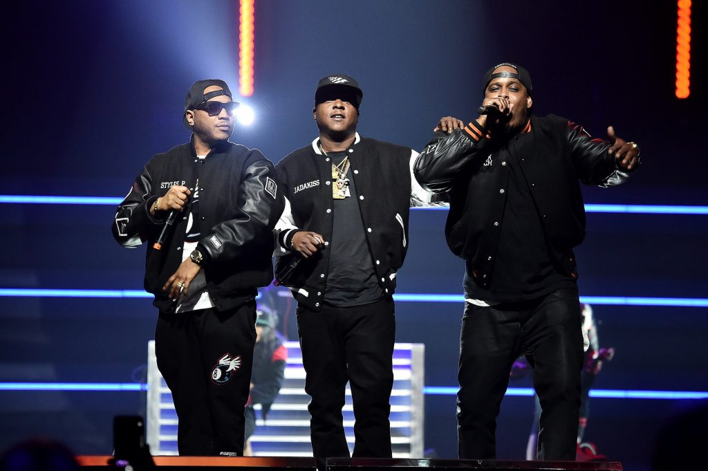 (L-R) Styles P, Jadakiss, and Sheek Louch of The Lox perform onstage in Brooklyn