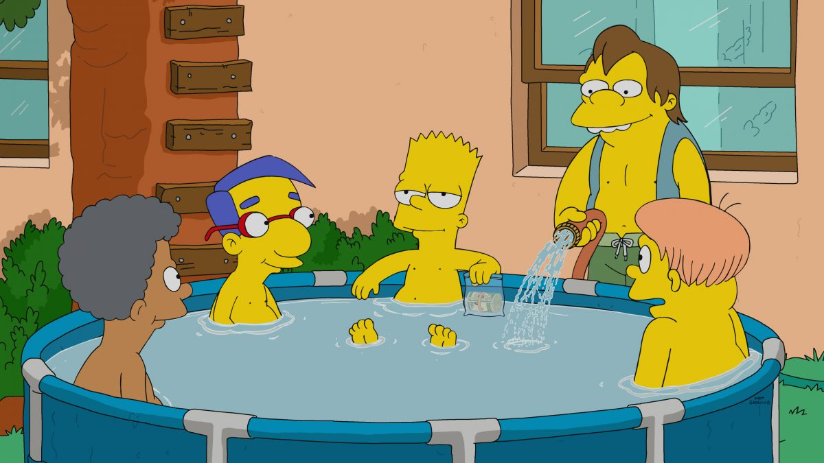 The Simpsons: Nelson Muntz fills the pool with water