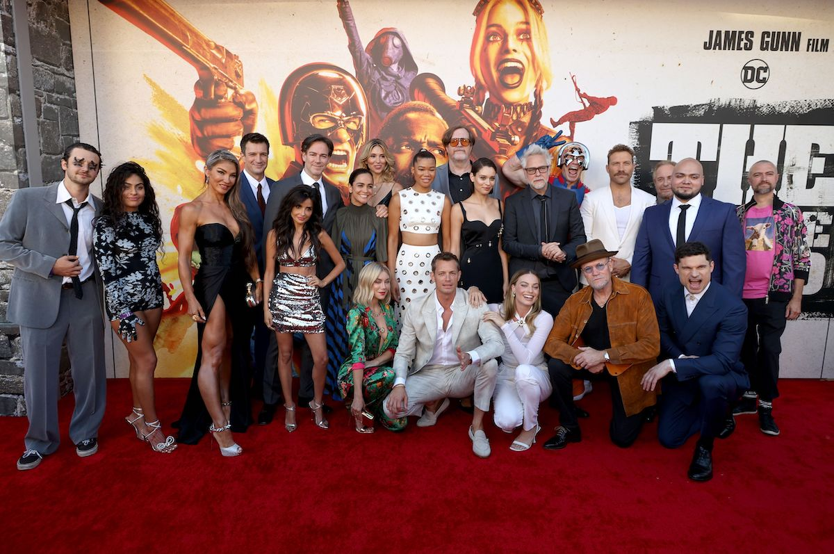 """Cast and crew including Nathan Fillion, Storm Reid, Margot Robbie, John Cena, James Gunn, Michael Rooker, Jai Courtney, and Daniela Melchior attends the Warner Bros. premiere of """"The Suicide Squad"""" at Regency Village Theatre on August 02, 2021 in Los Angeles, California."""