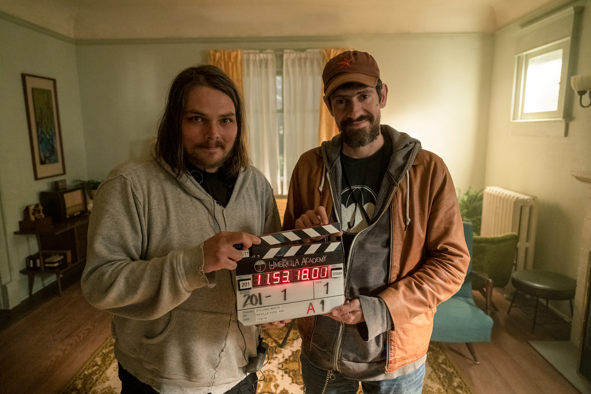 'The Umbrella Academy' creators Gerard Way and Gabriel Bá on the set for season 2.