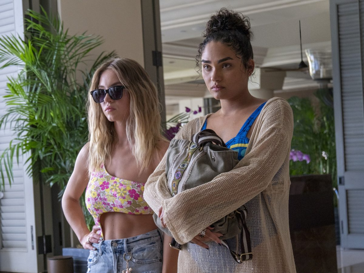 Sydney Sweeney and Brittany OGrady as Olivia and Paula in The White Lotus