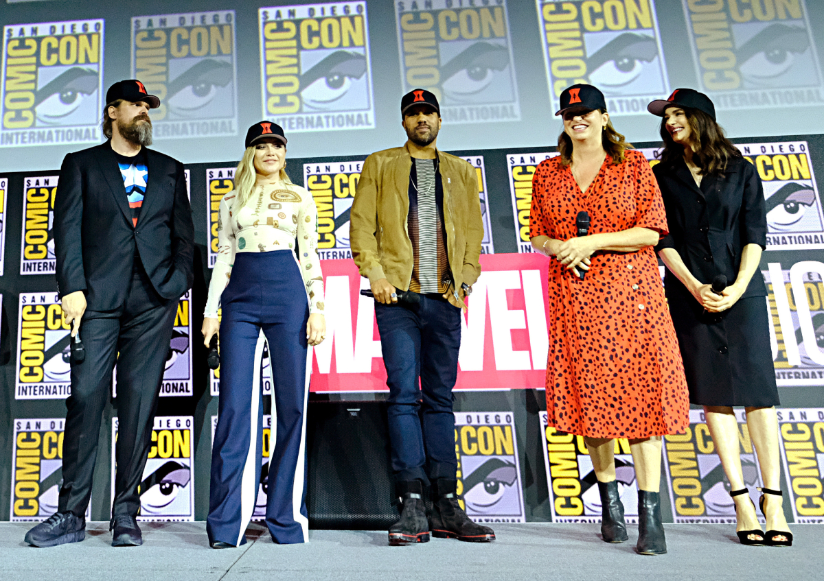 David Harbour, Florence Pugh, O-T Fagbenle, Director Cate Shortland and Rachel Weisz of Marvel Studios' 'Black Widow' at the San Diego Comic-Con International 2019 Marvel Studios Panel in Hall H on July 20, 2019 in San Diego, California