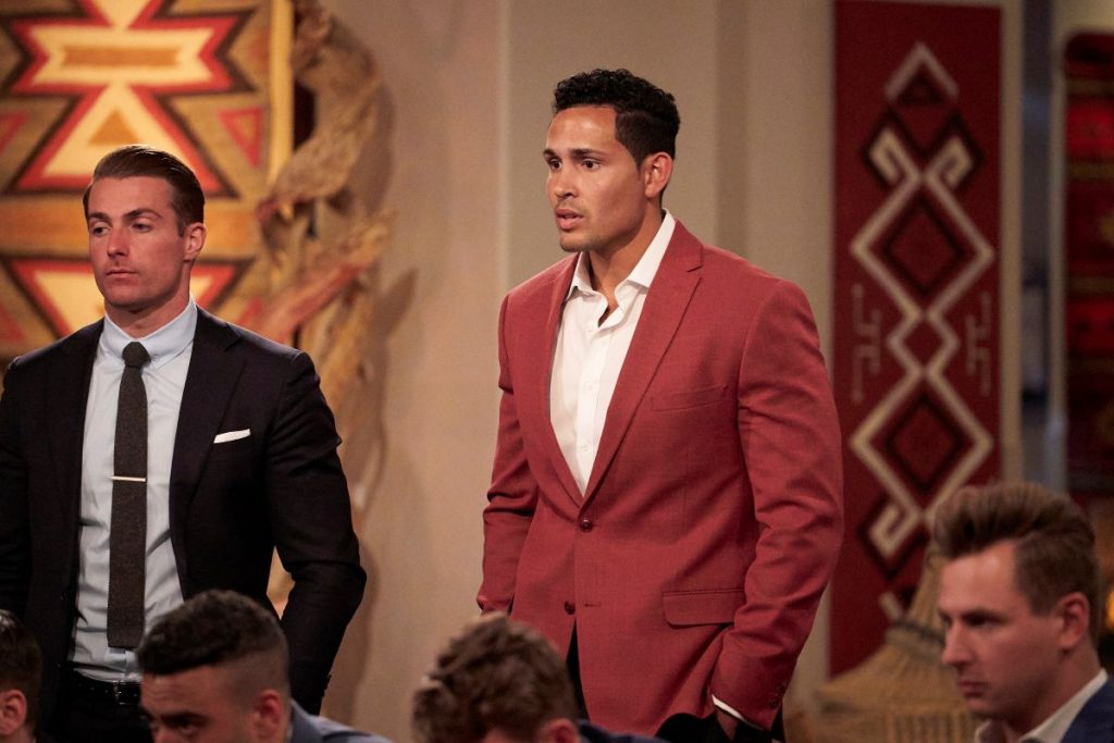 Thomas Jacobs in a red suit on 'The Bachelorette'