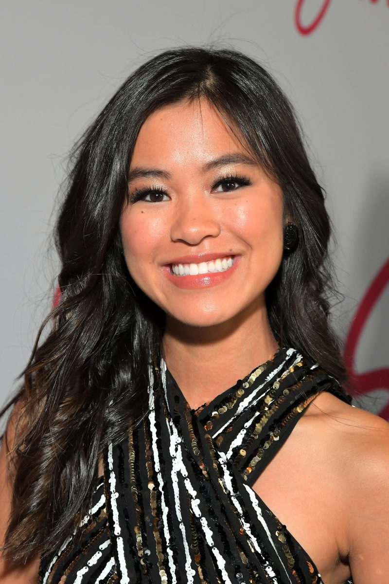 Tiffany Espensen is photographed arriving at the premiere of 'Let it Snow' in November 2019