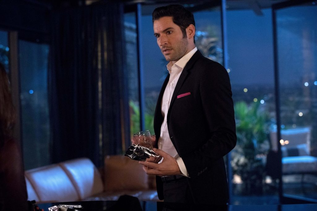 Actor Tom Ellis in the 'Trip to Stabby Town' episode of 'Lucifer,' originally aired on November 14, 2016, on FOX
