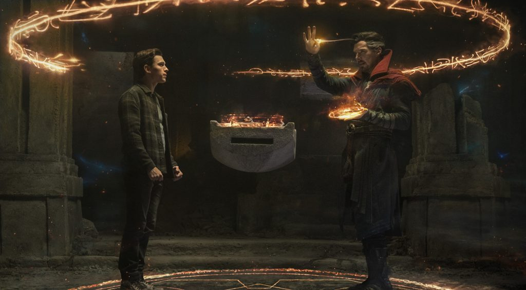 Tom Holland as Peter Parker/Spider-Man and Benedict Cumberbatch as Doctor Strange in 'Spider-Man: No Way Home'